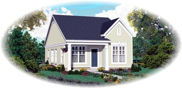 House Plan 47550 | Traditional Style Plan with 1058 Sq Ft, 2 Bedrooms, 2 Bathrooms Elevation