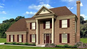 House Plan 47551   Colonial Style Plan with 2452 Sq Ft, 3 Bedrooms, 3 Bathrooms, 2 Car Garage Elevation