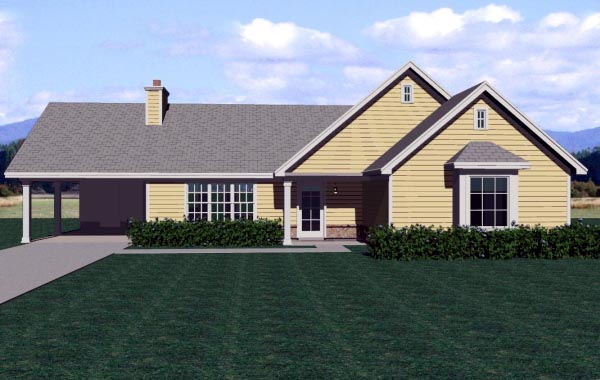 Traditional House Plan 47561 with 3 Beds, 2 Baths, 1 Car Garage Elevation