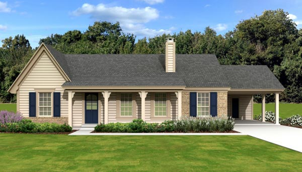 Country House Plan 47572 with 3 Beds, 2 Baths, 2 Car Garage Elevation