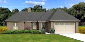 House Plan 47924   European Style Plan with 1660 Sq Ft, 3 Bedrooms, 2 Bathrooms, 2 Car Garage Elevation