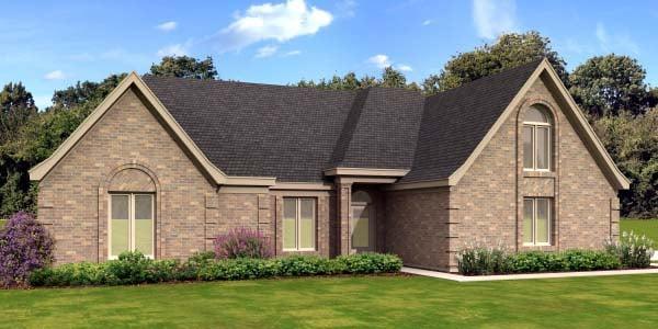 European House Plan 47955 with 3 Beds, 2 Baths, 2 Car Garage Elevation