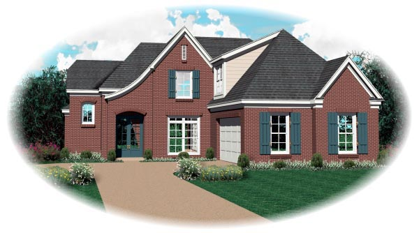 Country, European House Plan 47977 with 3 Beds, 3 Baths, 2 Car Garage Front Elevation