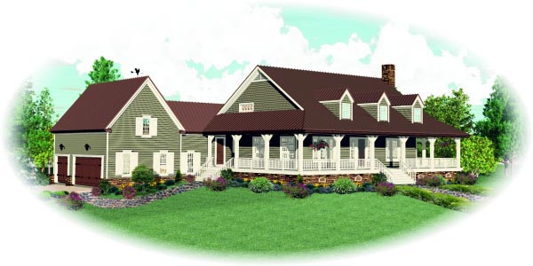 Country House Plan 47988 with 4 Beds, 4 Baths, 3 Car Garage Picture 1