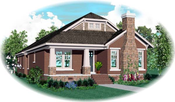 Bungalow Craftsman House Plan 47996 Elevation