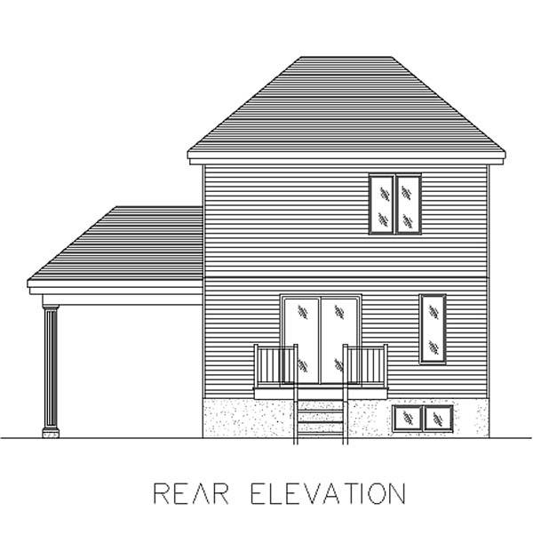 European, Narrow Lot House Plan 48003 with 3 Beds, 2 Baths, 1 Car Garage Rear Elevation