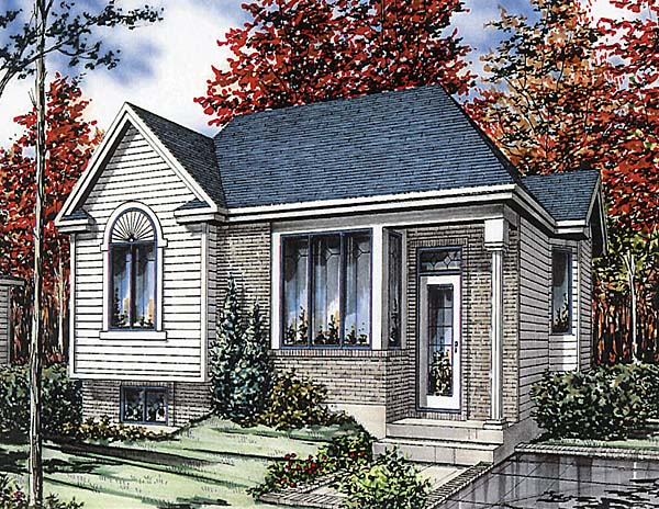 Bungalow, Narrow Lot, One-Story House Plan 48008 with 2 Beds, 1 Baths Elevation