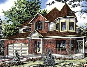 Country , Victorian House Plan 48013 with 3 Beds, 3 Baths, 1 Car Garage Elevation