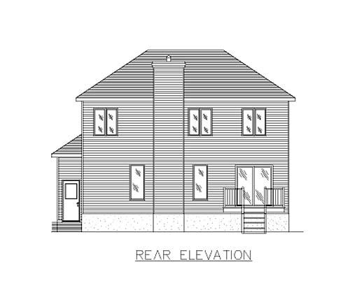 European House Plan 48014 Rear Elevation