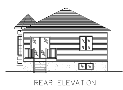 Bungalow, Narrow Lot, One-Story House Plan 48024 with 2 Beds, 1 Baths Rear Elevation