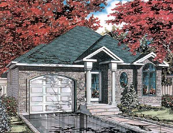 Bungalow, Narrow Lot, One-Story House Plan 48025 with 2 Beds, 1 Baths, 1 Car Garage Front Elevation