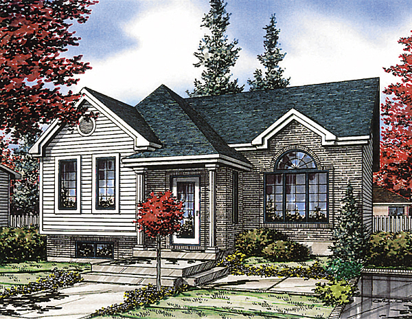 European, Narrow Lot, One-Story House Plan 48032 with 2 Beds, 1 Baths Elevation