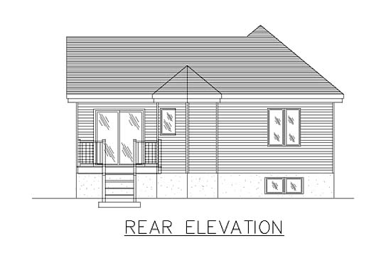 European, Narrow Lot, One-Story House Plan 48032 with 2 Beds, 1 Baths Rear Elevation