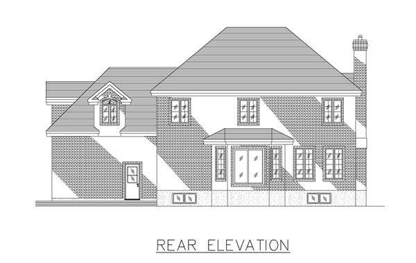European House Plan 48033 Rear Elevation