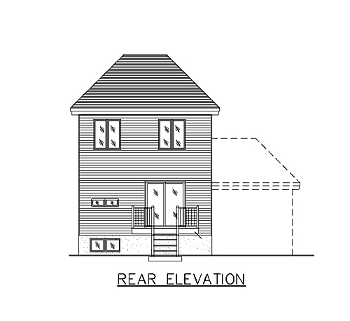 European House Plan 48034 Rear Elevation