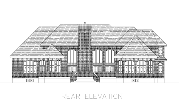 European House Plan 48039 with 4 Beds, 4 Baths, 3 Car Garage Rear Elevation