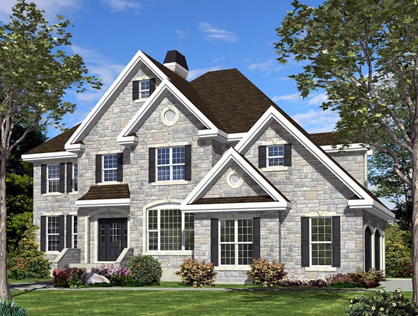 European House Plan 48044 with 4 Beds, 3 Baths, 2 Car Garage Elevation
