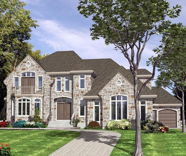 European House Plan 48045 with 3 Beds, 3 Baths, 3 Car Garage Front Elevation