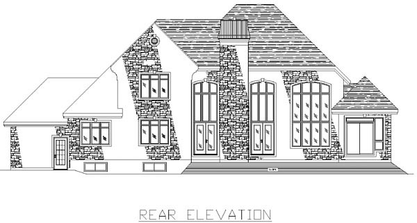 European House Plan 48045 with 3 Beds, 3 Baths, 3 Car Garage Rear Elevation