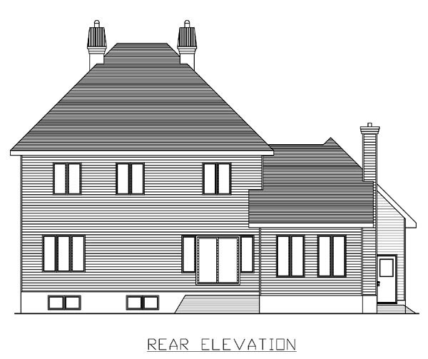 European House Plan 48052 Rear Elevation