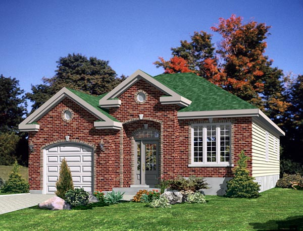 European, Narrow Lot, One-Story House Plan 48053 with 2 Beds, 1 Baths, 1 Car Garage Elevation