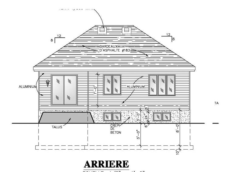 European, Narrow Lot, One-Story House Plan 48053 with 2 Beds, 1 Baths, 1 Car Garage Rear Elevation