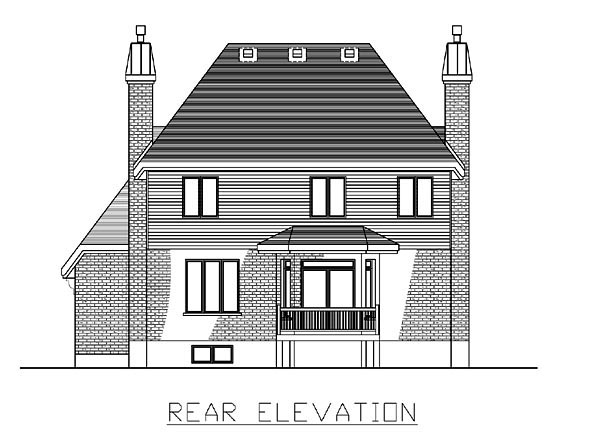 European House Plan 48055 Rear Elevation
