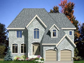 House Plan 48057 | European Style Plan with 2823 Sq Ft, 4 Bedrooms, 3 Bathrooms, 2 Car Garage Elevation