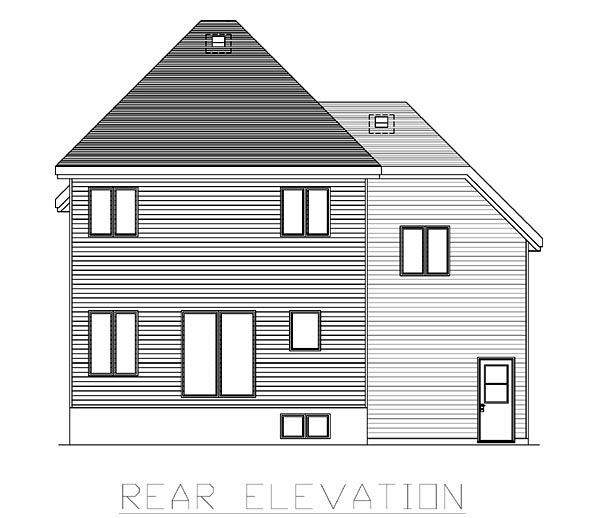 European House Plan 48058 Rear Elevation