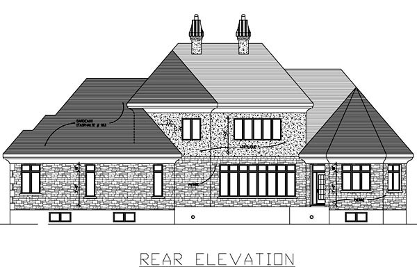 European House Plan 48059 Rear Elevation