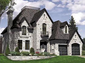 House Plan 48060 | European Style Plan with 2190 Sq Ft, 3 Bedrooms, 3 Bathrooms, 2 Car Garage Elevation