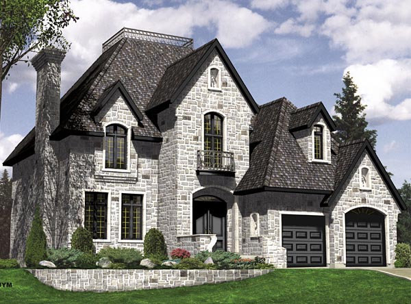 European House Plan 48060 with 3 Beds, 3 Baths, 2 Car Garage Elevation