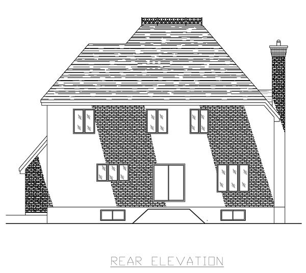 European House Plan 48060 with 3 Beds, 3 Baths, 2 Car Garage Rear Elevation