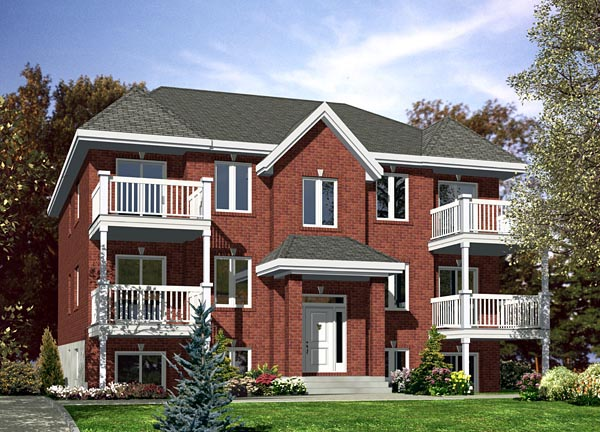 Multi family plan 48066 at for Multi family home designs