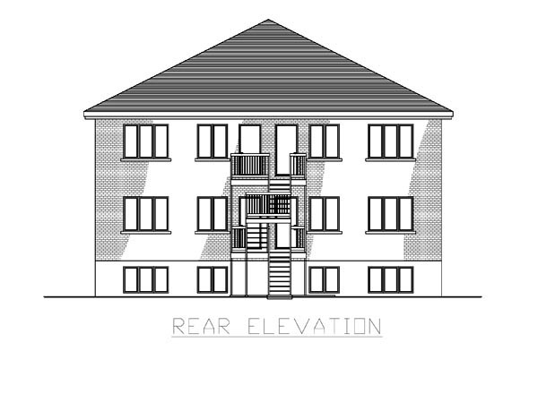 Multi-Family Plan 48066 with 12 Beds , 6 Baths Rear Elevation