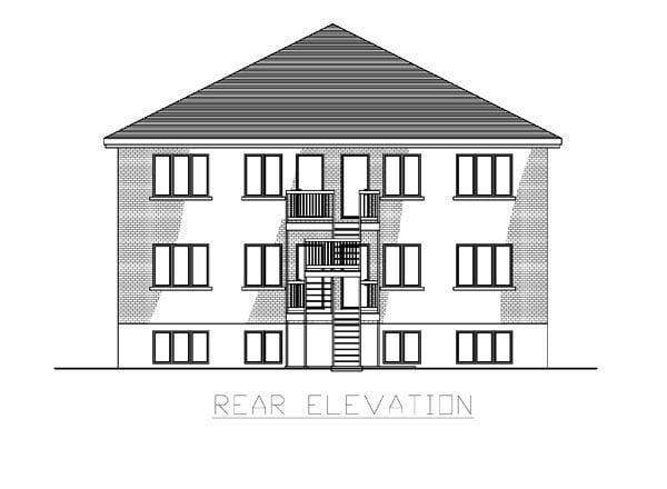 Multi-Family Plan 48066 Rear Elevation