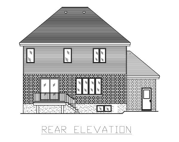 European House Plan 48068 Rear Elevation