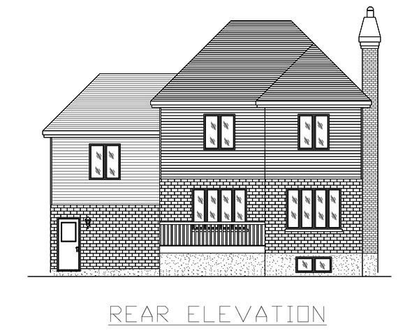 European House Plan 48069 with 3 Beds, 2 Baths, 1 Car Garage Rear Elevation