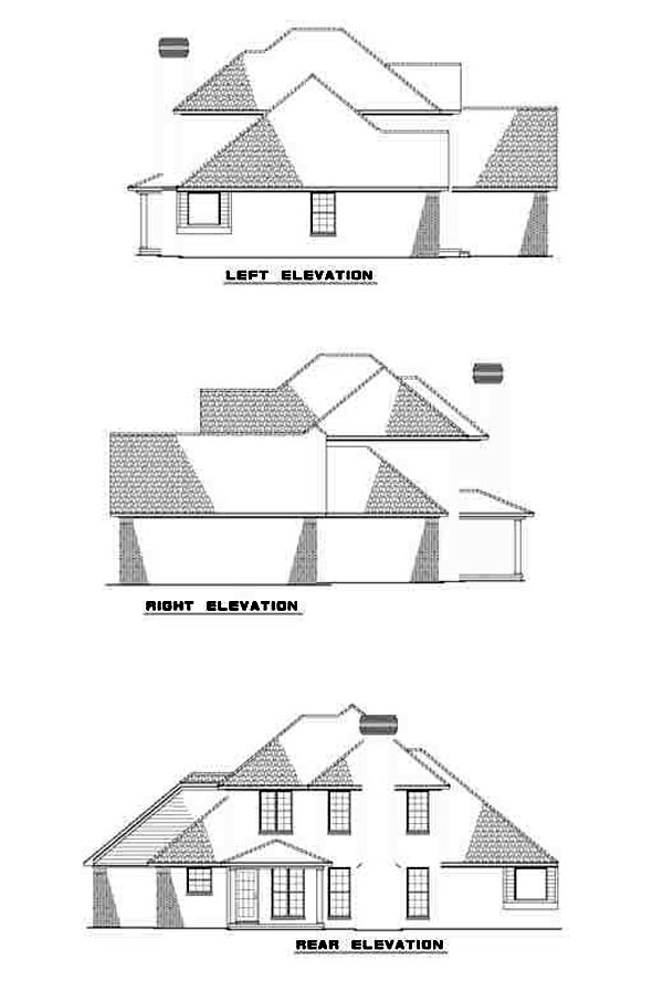European House Plan 48071 Rear Elevation