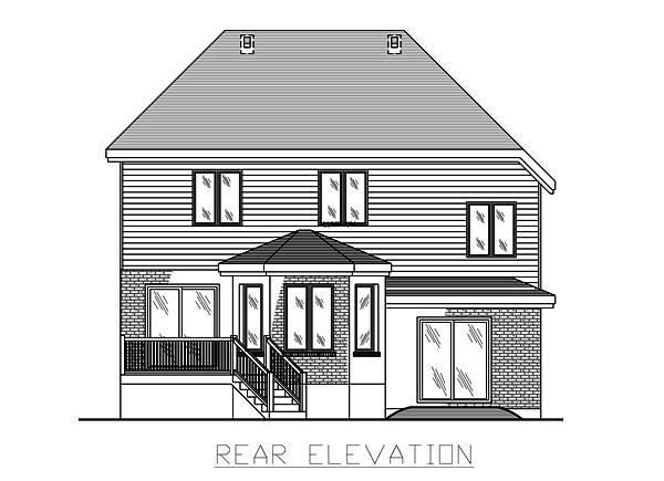 European House Plan 48074 Rear Elevation