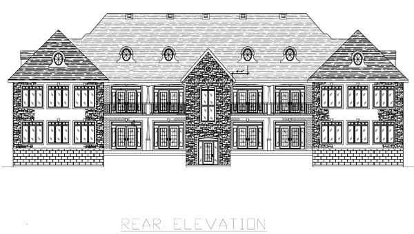 Multi-Family Plan 48075 with 12 Beds, 10 Baths, 8 Car Garage Rear Elevation