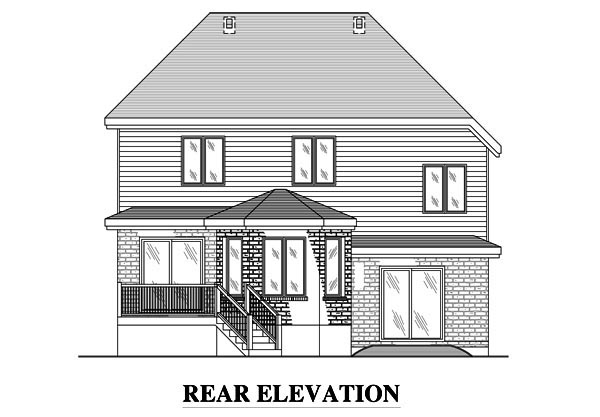 European House Plan 48077 Rear Elevation