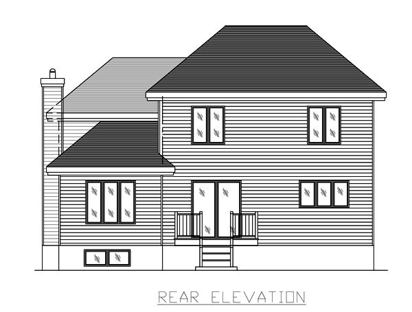 European House Plan 48078 Rear Elevation