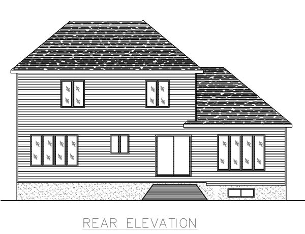 European House Plan 48080 Rear Elevation