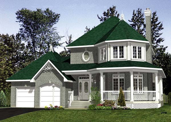 House Plan 48082 | Victorian Style Plan with 1818 Sq Ft, 3 Bedrooms, 2 Bathrooms, 2 Car Garage Elevation