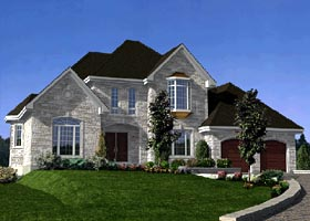 European House Plan 48087 with 4 Beds, 2 Baths, 2 Car Garage Elevation