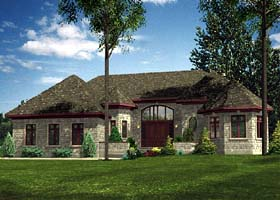 House Plan 48091   Contemporary Style Plan with 1972 Sq Ft, 2 Bedrooms, 2 Bathrooms, 2 Car Garage Elevation