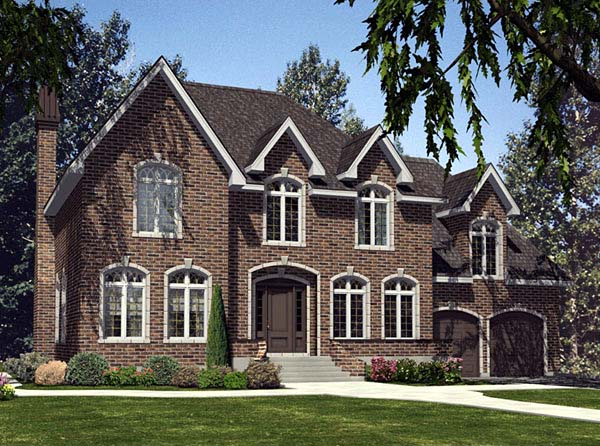 House Plan 48102 | Traditional Style Plan with 2818 Sq Ft, 4 Bedrooms, 3 Bathrooms, 2 Car Garage Elevation