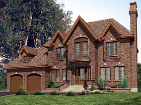 House Plan 48108 | European Style Plan with 1984 Sq Ft, 4 Bedrooms, 2 Bathrooms, 2 Car Garage Elevation