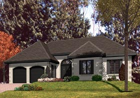 House Plan 48109 | European Style Plan with 1734 Sq Ft, 3 Bedrooms, 1 Bathrooms, 2 Car Garage Elevation